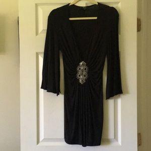 Sexy SKY black bell sleeve dress.